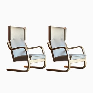 Vintage Finnish Model 401 Armchairs by Alvar Aalto for Artek, Set of 2