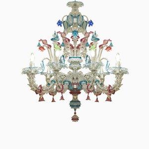 Großer antiker Kronleuchter aus Murano Glas mit 9 Leuchten aus geblasenem Glas, 1900er