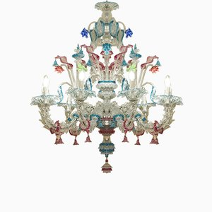 Large Antique Murano 9-Light Chandelier in Blown Glass, 1900s