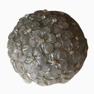 Applique moderne rotonde in vetro di Murano chiaro e dorato di Barovier & Toso, anni '60, set di 2