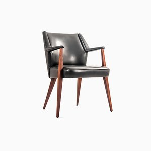 Mid-Century Teak and Black Skai Armchair, 1960s