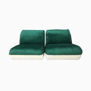 Vintage Space Age Green Modular Sofa Chairs, Set of 2