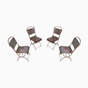 Antike Eisen Esszimmerstühle im provenzalischen Stil, 4er Set