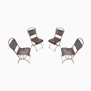 Antique Provencal Bohemian Style Iron Dining Chairs, Set of 4
