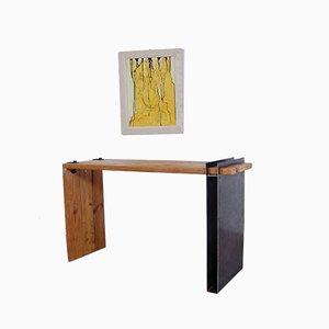 Industrie Stil Konsolentisch aus Holz und Eisen, 1990er