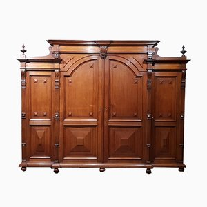 Antique Oak 4-Door Wardrobe