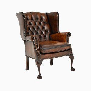 Chippendale Style Leather Wing Back Armchair, 1950s