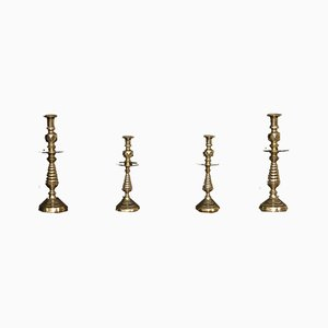 Victorian Brass Candleholders, Set of 4