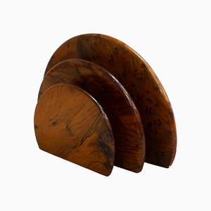 Mid-Century Burr-Thuja Wood Letter Holder