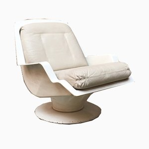 Space Age Italian ABA and Leather Lounge Chair by Richard Neagle, 1960s