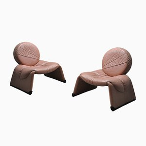 Armchairs in Pink Leather, 1970s, Set of 2