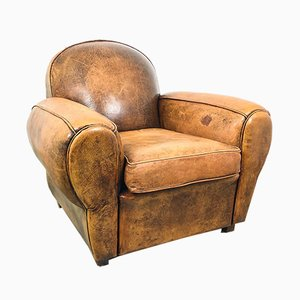 Vintage French Art Deco Sheep Leather Club Chair
