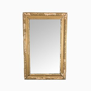 Antique French Distressed Golden Mirror
