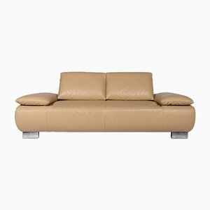 Volare Beige Leather 2-Seat Sofa with Function from Koinor