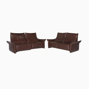 Brown Leather 3-Seat & 2-Seat Sofas from Machalke, Set of 2