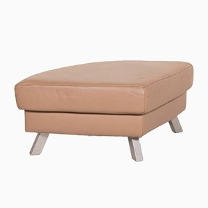 Beige Leather Stool from Ewald Schillig