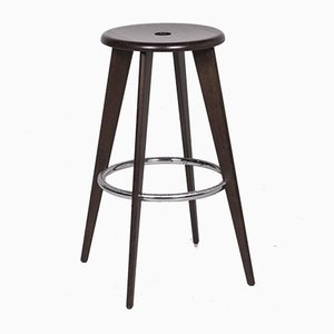 Brown Wool Stool by Jean Prouvé for Vitra
