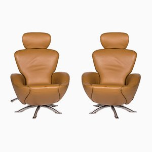 Dodo Cognac Brown Leather Armchairs with Relax Function by Toshiyuki Kita for Cassina, Set of 2