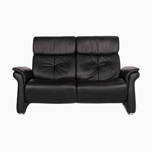 Black Leather 2-Seat Sofa from Mondo