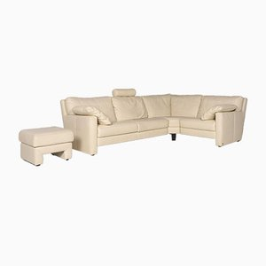 Sample Ring Cream Leather Corner Sofa and Stool from Musterring, Set of 2