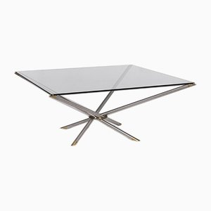 Glass, Aluminium & Brass Square Coffee Table from Draenert
