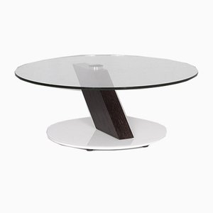 K 190 Glass and Wood Round Coffee Table from Ronald Schmitt