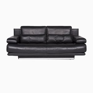 6500 Black Leather 2-Seat Sofa with Function by Kein Designer for Rolf Benz
