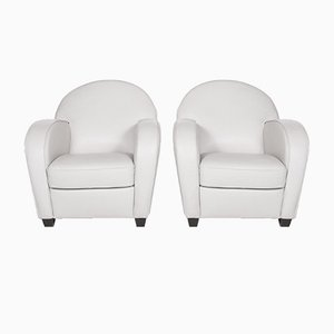 Grey Leather Armchairs from Natuzzi, Set of 2
