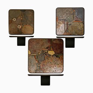 Bronze und Schiefer Satztische von Paul Kingma für Kneip, Niederlande, 1991