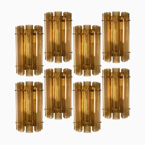 Large Glass and Brass Sconce, 1970s