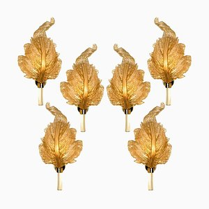 Large Gold Glass Murano Wall Sconce by Barovier & Toso, Italy, 1960s