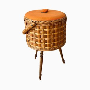 Rattan Sewing Box on Wooden Legs, 1950s