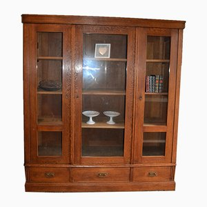 Antique Oak 3-Door Bookcase