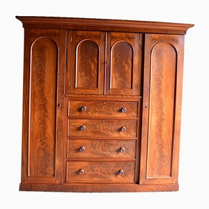 Large Antique Mahogany Wardrobe TV Cabinet