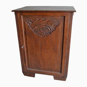 Antique Art Nouveau Oak 1-Door Wardrobe