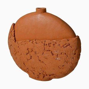 Kugelförmige Texturglas Vase in Pastellfarben, 1970er