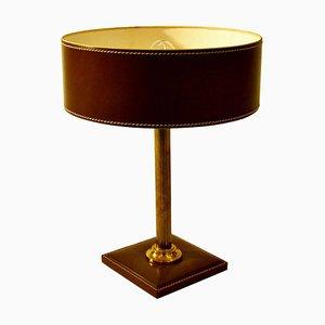Leder Tischlampe von Jacques Adnet, 1970er