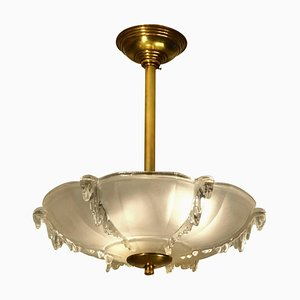 French Art Deco Moulded Glass Pendant Lamp, 1930s
