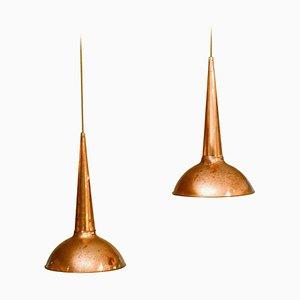 Lampade in rame, anni '50, set di 2