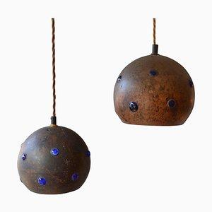 Hängelampen aus Blauem Glas & Patiniertem Kupfer von Nanda Still, 1970er, 2er Set