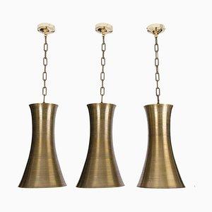 Hängelampen aus Bronze in Sandkastenform, 1960er, 3er Set