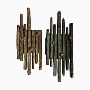 Brutalistische Griffe aus Push and Pull aus Bronze, 1970er, 2er Set