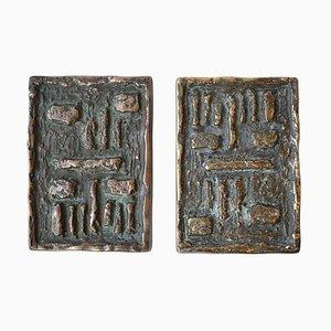 Bronze Vintage Türgriffe im brutalistischen Stil, 2er Set