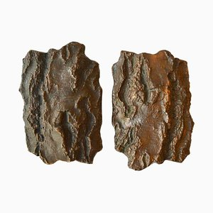 Brutalist Bronze Tree Bark Door Handles for Double Doors, 1970s, Set of 2