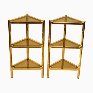 Triangular Brass Pedestals, 1950s, Set of 2