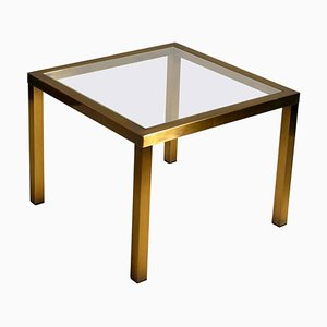 Minimal Square Brass Coffee Table with Clear Glass Top from Belgo Chrome, 1970s