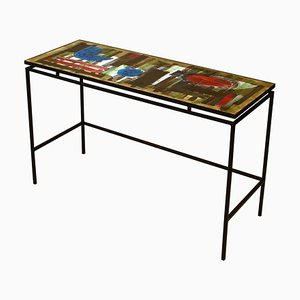 Hand-Painted Ceramic Tile Console or Desk on Black Metal Frame from Belarti, 1960s