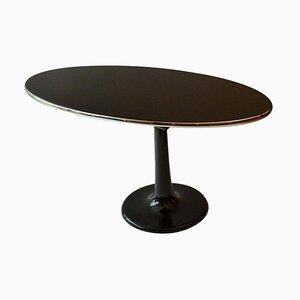 Ovaler Mid-Century Ovaler Schwarzer Tisch & Ovaler Schminkspiegel Auf Tulip Fuß, 2er Set