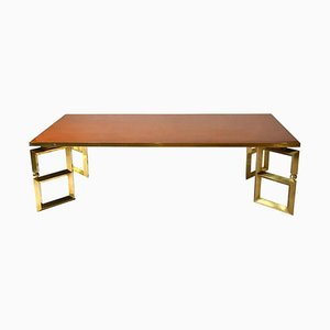 Brass and Burned Orange Coffee Table by Guy Lefevre for Maison Jansen, 1970s