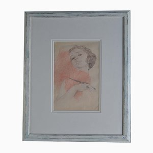 Dutch Flapper Women Pencil Drawing in Frame, 1930s
